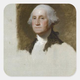 Portrait of George Washington Square Sticker