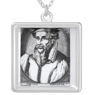 Portrait of Gerard Mercator Silver Plated Necklace
