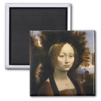 Portrait of Ginevra de Benci by Leonardo da Vinci 2 Inch Square Magnet