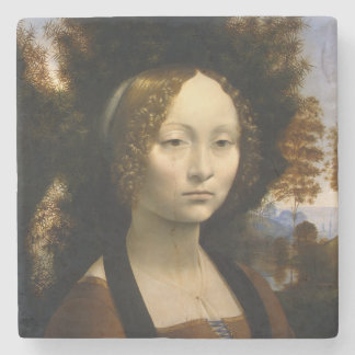 Portrait of Ginevra de Benci by Leonardo da Vinci Stone Coaster