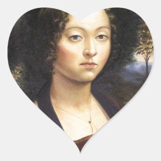 """Portrait of Ginevra de Benci""-reproduction Heart Sticker"