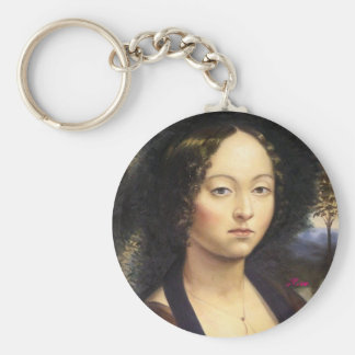 """Portrait of Ginevra de Benci""-reproduction Keychain"