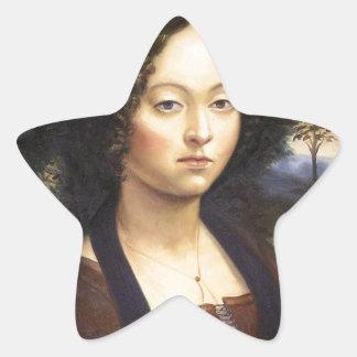 """Portrait of Ginevra de Benci""-reproduction Star Sticker"