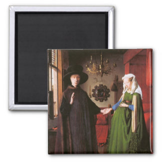 Portrait of Giovanni Arnolfini and his Wife 2 Inch Square Magnet