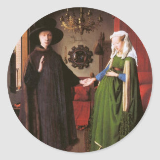 Portrait of Giovanni Arnolfini and his Wife Classic Round Sticker