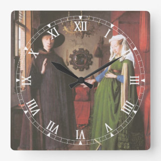 Portrait of Giovanni Arnolfini and his Wife Square Wall Clock