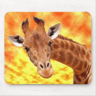 Portrait of giraffe under a glowing sky mouse pad