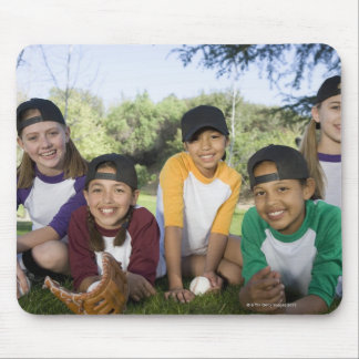 Portrait of girl baseball players mouse pad