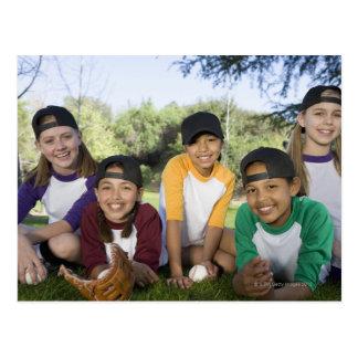 Portrait of girl baseball players postcard