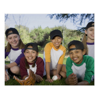 Portrait of girl baseball players poster