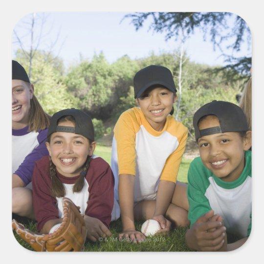 Portrait of girl baseball players square sticker