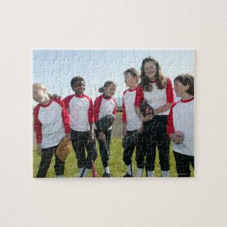 portrait of girl softball team puzzles