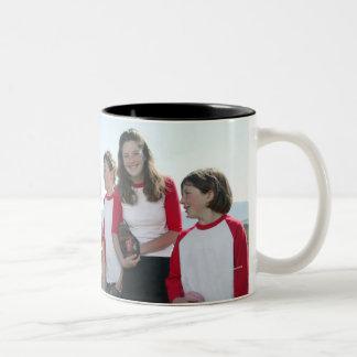 portrait of girl softball team Two-Tone coffee mug