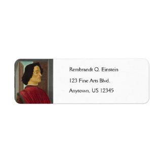 Portrait of Giuliano de Medici by Botticelli Label
