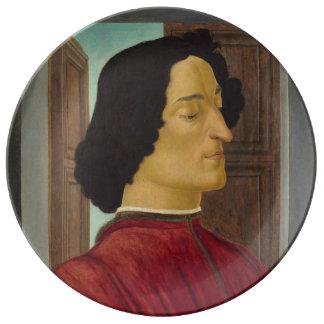 Portrait of Giuliano de Medici by Botticelli Porcelain Plate