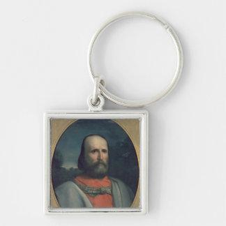 Portrait of Giuseppe Garibaldi 2 Silver-Colored Square Keychain