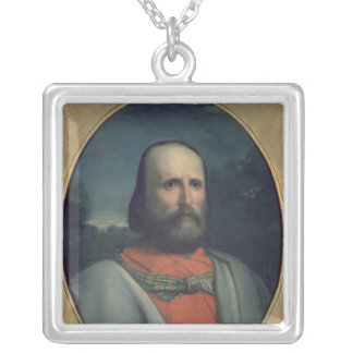 Portrait of Giuseppe Garibaldi 2 Square Pendant Necklace