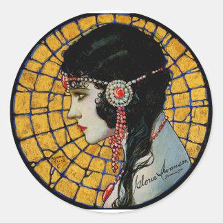 Portrait of Gloria Swanson 1920 - 23 by Mucha Classic Round Sticker