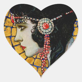 Portrait of Gloria Swanson 1920 - 23 by Mucha Heart Sticker