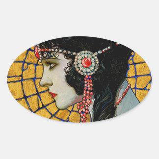 Portrait of Gloria Swanson 1920 - 23 by Mucha Oval Sticker