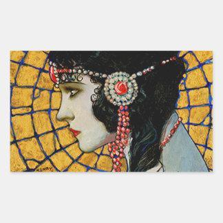 Portrait of Gloria Swanson 1920 - 23 by Mucha Rectangular Sticker
