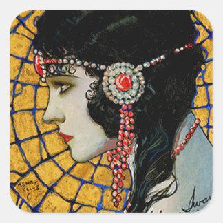 Portrait of Gloria Swanson 1920 - 23 by Mucha Square Sticker