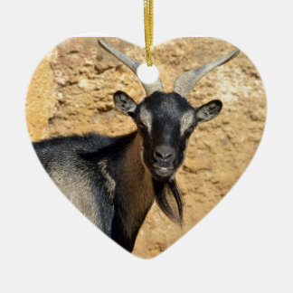 Portrait of goat ceramic ornament