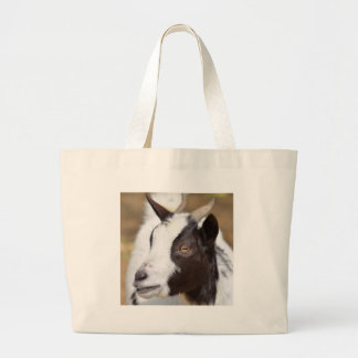 Portrait of goat large tote bag