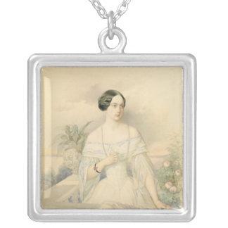 Portrait of Grand Duchess Olga Nikolaevna, 1846 Silver Plated Necklace