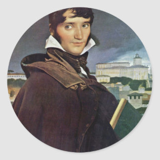 Portrait Of Granet By Ingres Jean Auguste Dominiqu Round Stickers