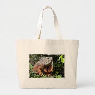 Portrait of green iguana bag