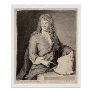 Portrait of Grinling Gibbons (1648-1721) (w/c on p Poster
