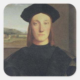 Portrait of Guidobaldo da Montefeltro, Duke of Urb Square Sticker