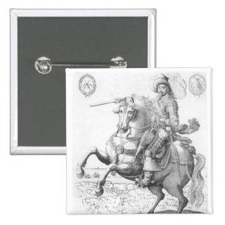 Portrait of Gustavus Adolphus II 2 Inch Square Button