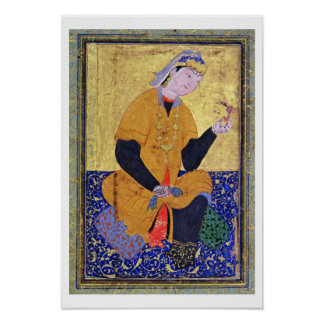 Portrait of Hamida Banu Begum, holding a seal, ill Poster
