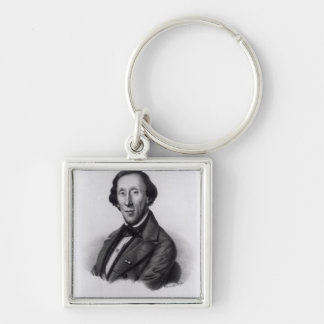 Portrait of Hans Christian Andersen Silver-Colored Square Keychain