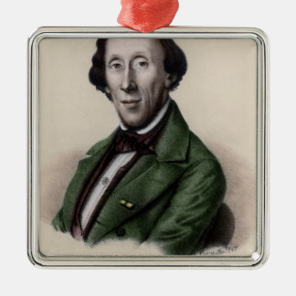 Portrait of Hans Christian Andersen Square Metal Christmas Ornament