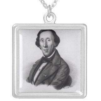 Portrait of Hans Christian Andersen Square Pendant Necklace