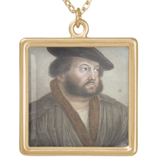 Portrait of Hans Holbein (1497/8-1543) engraved by Gold Plated Necklace