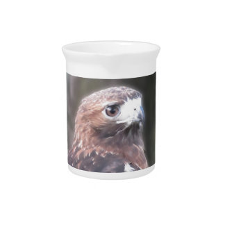 Portrait of hawk over a nature blurred background drink pitcher