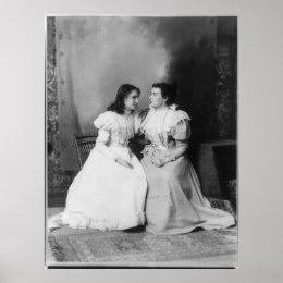 Portrait of Helen Keller and Anne Sullivan Poster