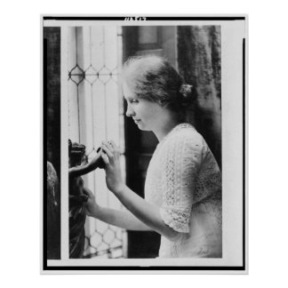 Portrait of Helen Keller Touching a Statue Poster