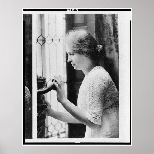 Portrait of Helen Keller Touching a Statue Poster