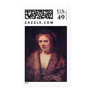 Portrait Of Hendrickje Stoffels By Rembrandt Postage Stamp