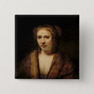 Portrait of Hendrikje Stoffels Pinback Button