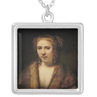 Portrait of Hendrikje Stoffels Square Pendant Necklace