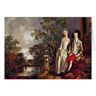 Portrait Of Heneage Lloyd And His Sister By Thomas Greeting Card