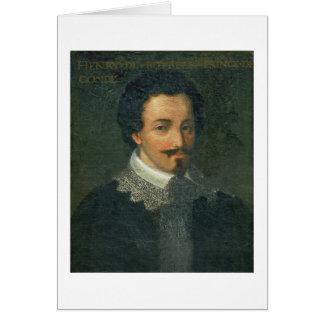 Portrait of Henri I de Bourbon Conde (oil on panel Card