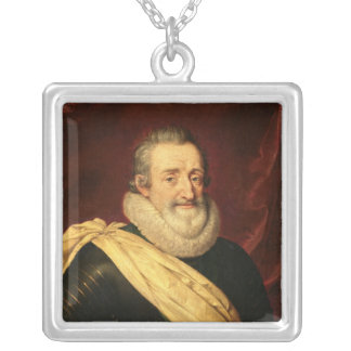 Portrait of Henri IV  King of France Silver Plated Necklace