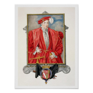 Portrait of Henry Howard (c.1517-47) Earl of Surre Poster